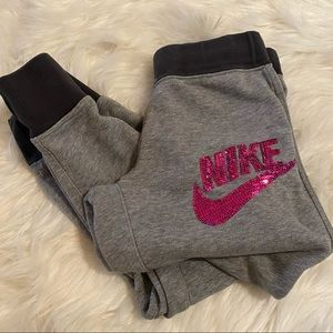 NIKE girls Grey sequin joggers | size M